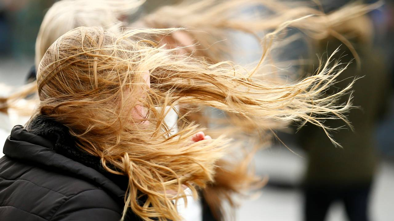 People walk through strong gusts of wind as storm Sabine is expected to hit the region in Cologne