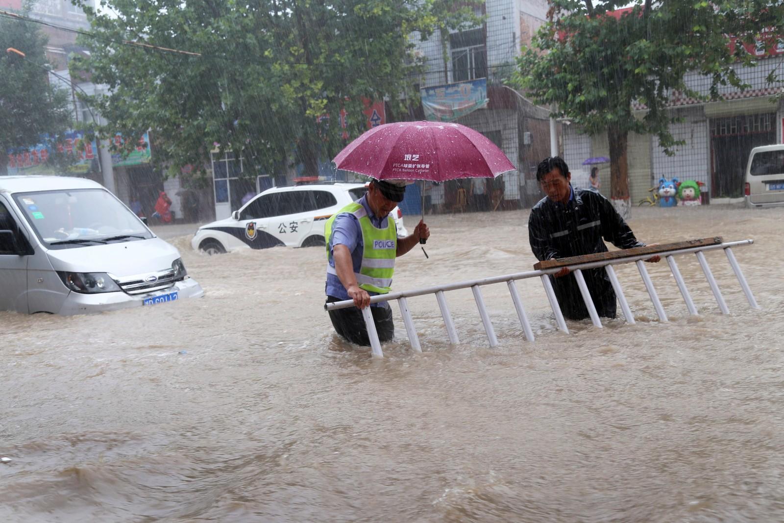 Wangrong-fylket i Kinas nordlige Shanxi-provins er også preget av flommen