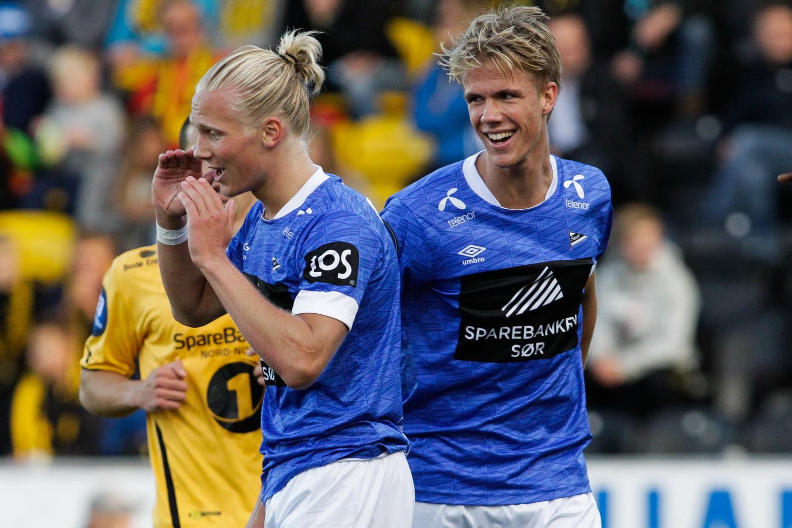 Starts Kristoffer Ajer og Lars Jørgen Salvesen stod for 0-1 scoringen under eliteseriekampen mellom Bodø/Glimt og Start på Aspmyra Stadion.