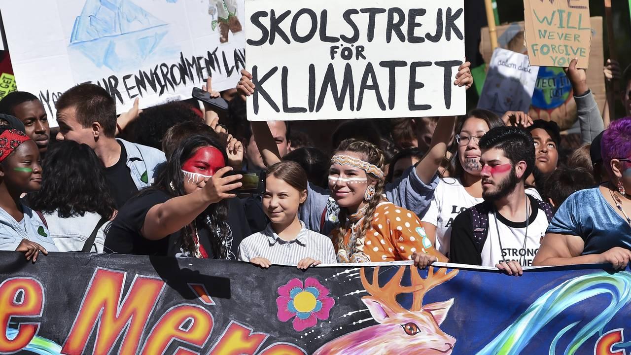Greta Thunberg på klimamarsj i Montreal