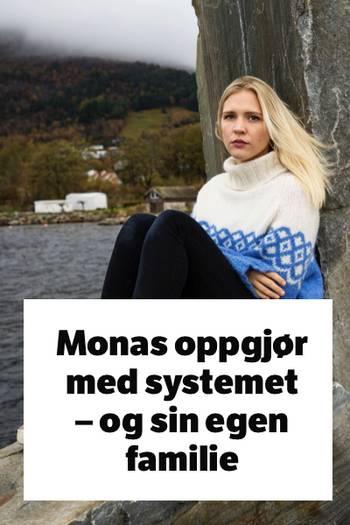 Portrett, Mona sitter på stein ved havet
