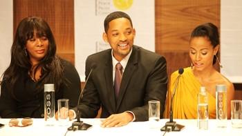 Donna Summer, Will Smith og Jada Pinkett Smith på Nobelkonsertens pressekonferanse.