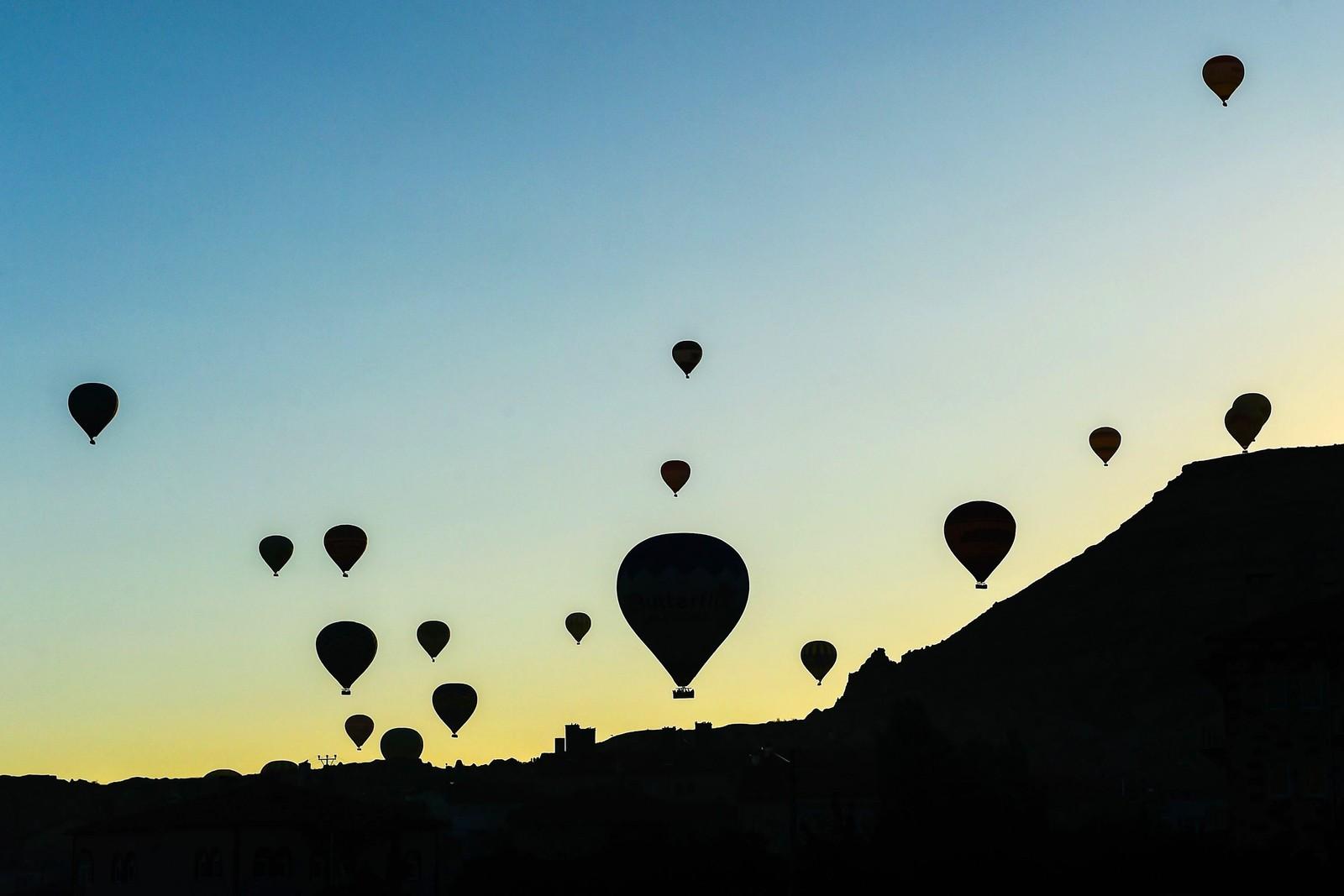 Varmluftsballonger i Anatolia i Tyrkia.