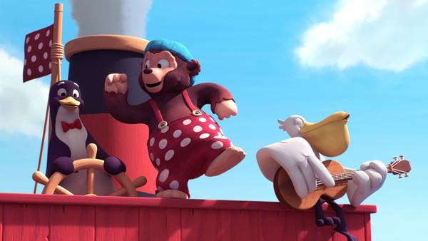 Dansk animasjonserie. Voktaren på ekvator. Kva er gjerdet Bamse Bjørn og gjengen finn midt ut i havet, og kven er det som voktar over det?