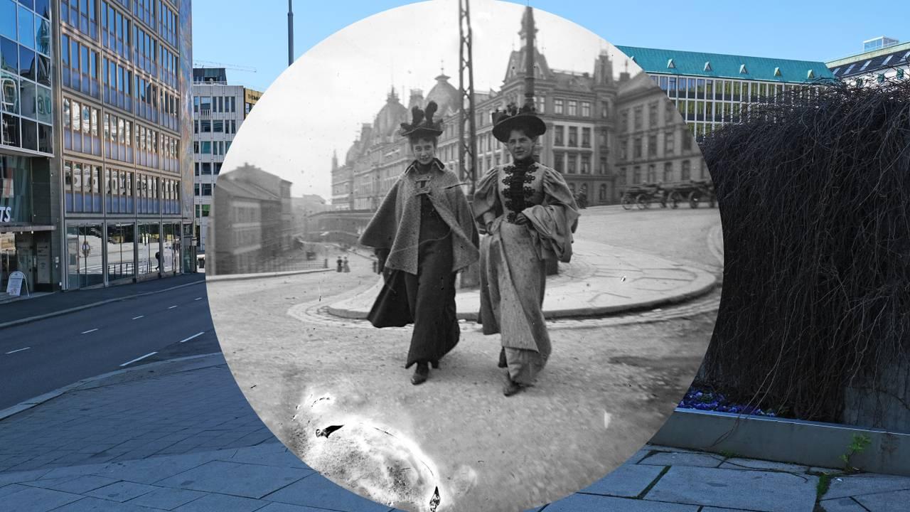 Ingeborg Willumsen (senere fru Astrup) og Lilli Heiberg (senere fru Bögh Henriksen) fotografert i Oslo av Carl Størmer på 1890-tallet - rammet inn i 2021.