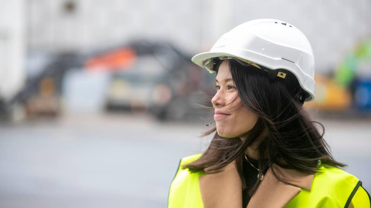 Lan Marie Berg med hjelm