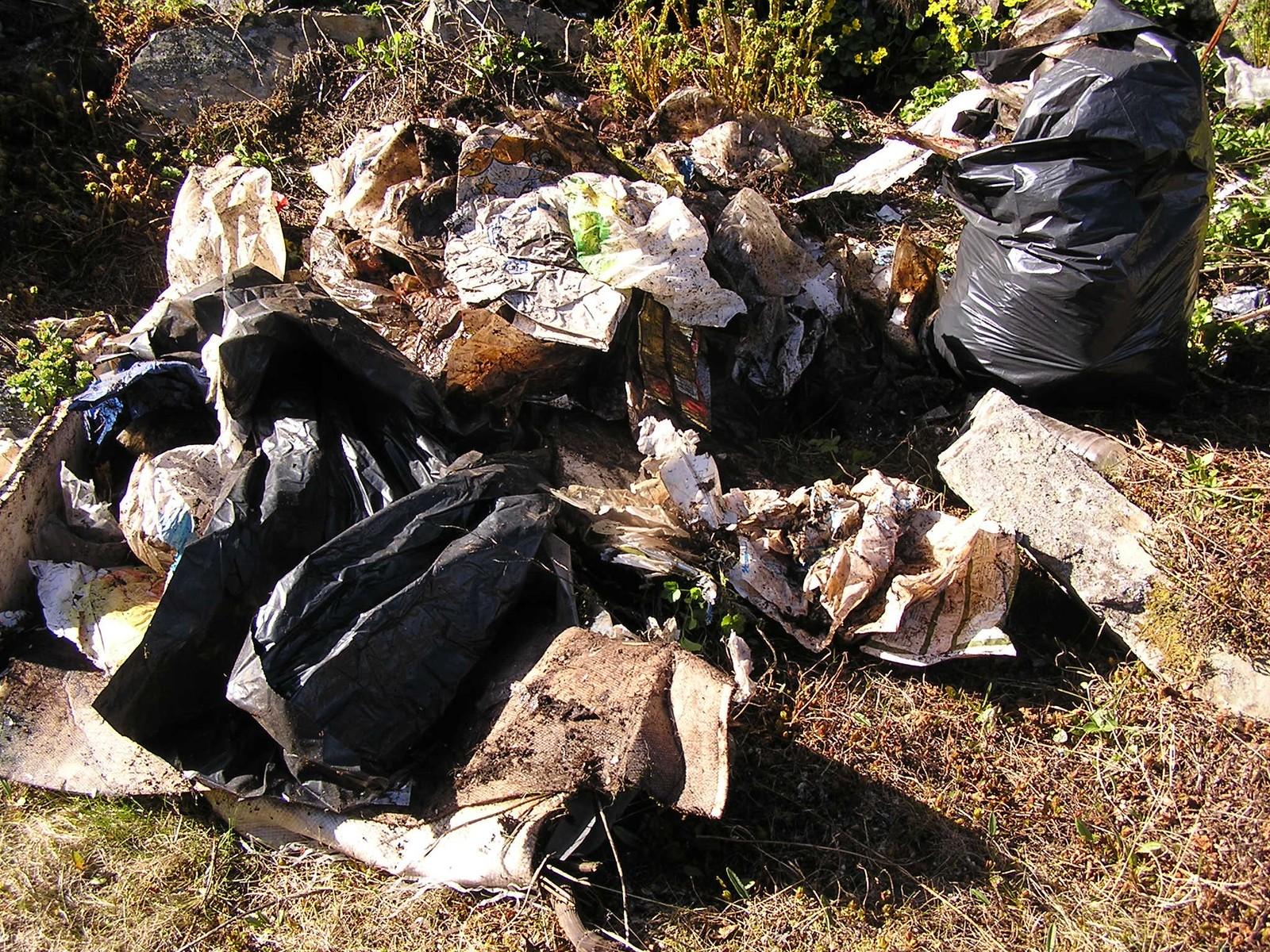 Enorme mengder med plast som Lill Wenche har samlet på en av sine turer.
