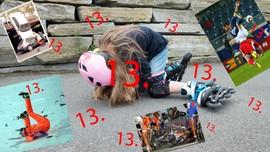 På bildet ser du forskjellige ulykker og uhell. En jente har falt på rulleskøyter, en bil har krasjet og sykelister har veltet. Saken handler om hvorfor fredag den 13. blir sett på som en ulykkesdag.
