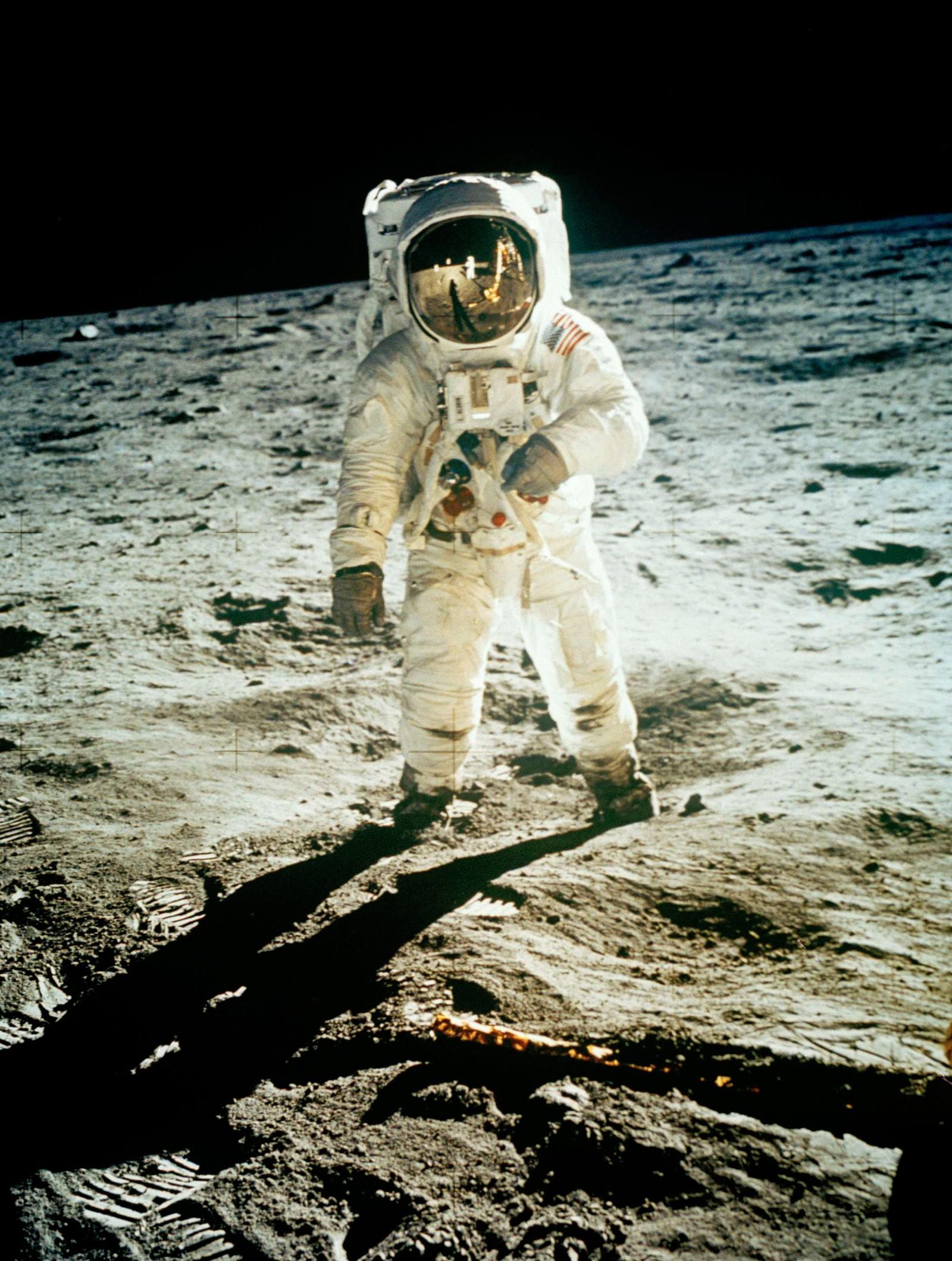 MANN PÅ MÅNEN: Astronaut Edwin E. Aldrin Jr. på månen, 20. juli 1969, under Apollo 11-oppdraget.