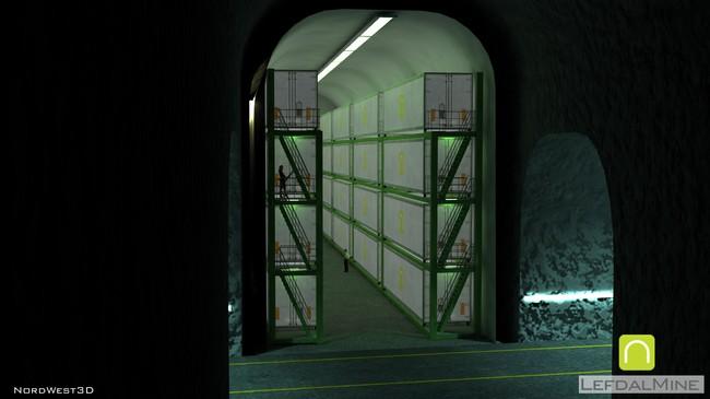 Animasjon som syner korleis det kan kome til å sjå ut i eit eventuelt datalager i gruvene i Lefdal. Pressefoto.