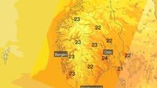 VARMT FØR STORMEN: Det kan bli svært høge septembertemperaturar i Sør-Noreg tysdag.