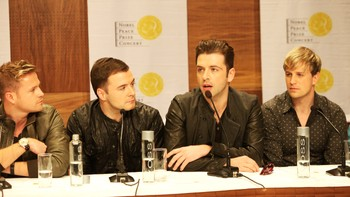 Westlife på pressekonferansen til Nobelkonsert.