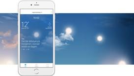 VELKOMSTHILSEN: Når du åpner appen får du beskjed om det viktigste som skjer med været denne dagen.