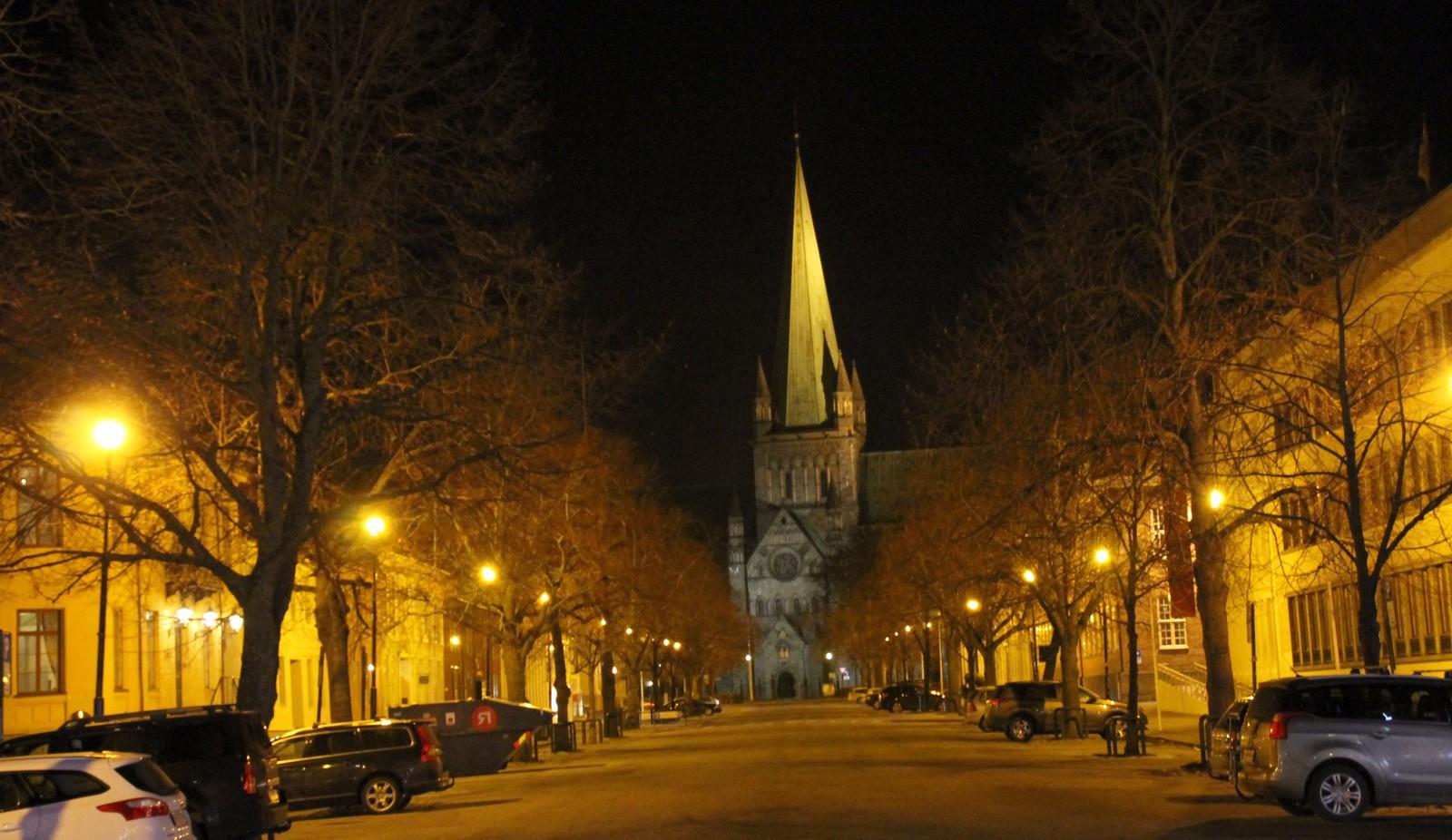 Kveldsstemning i Munkegata i Trondheim