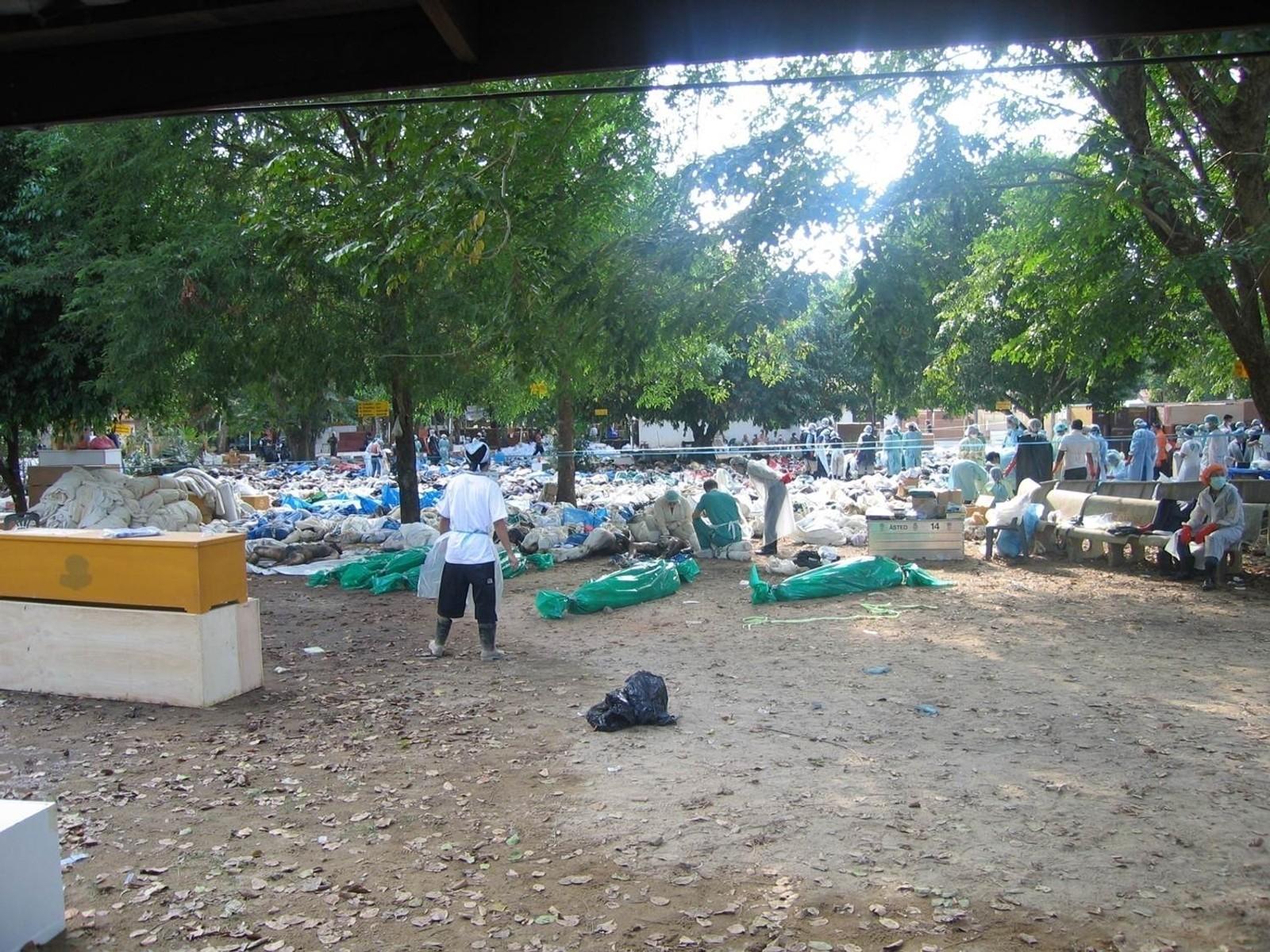 Tempelplassen i Bang Muang ble brukt som identifiseringssted for de omkomne.