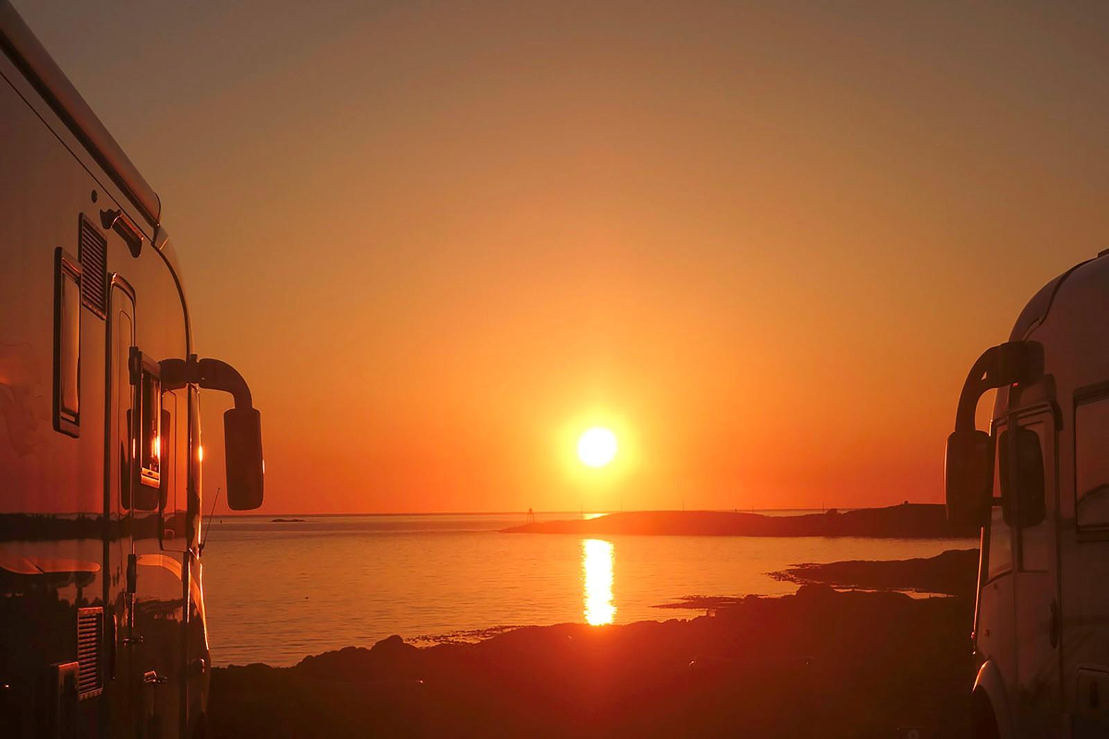Solnedgang fra Haraldshaugen i Haugesund.