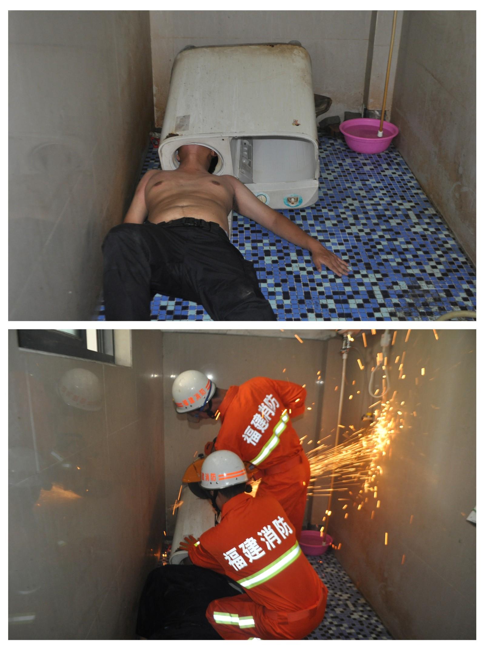 Det gikk rent galt da en kinesisk mann skulle fikse vaskemaskinen selv. Romkameratene tilkalte imidlertid hjelp og brannvesenet fikk løs mannen.