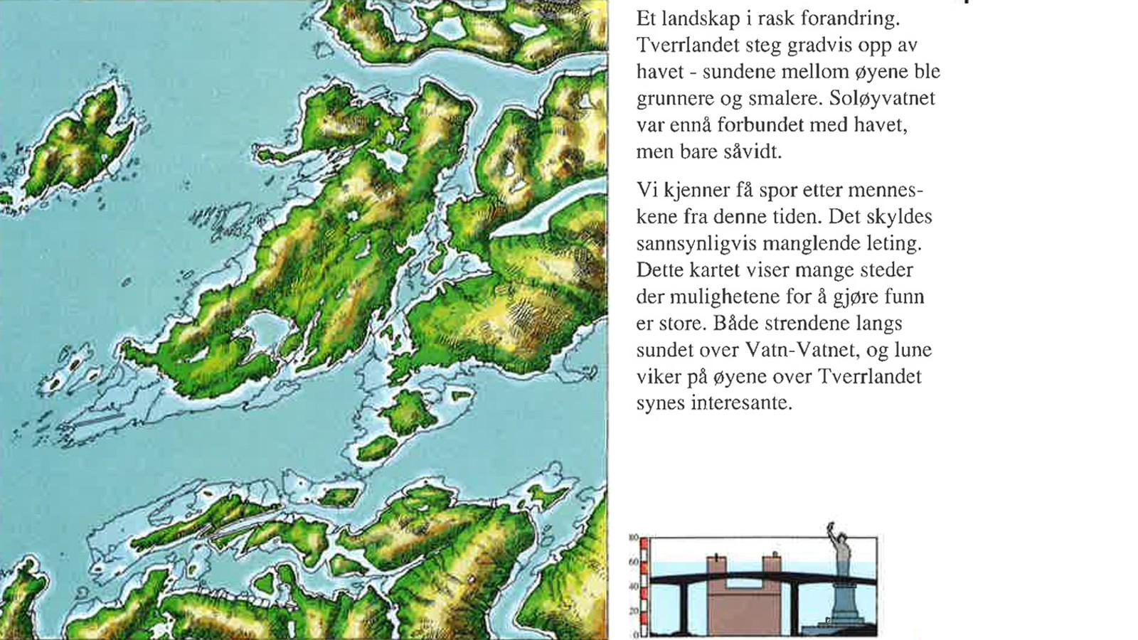 For 8000 år siden var havnivået 60 meter høyere enn i dag. Fra heftet «Spor ved Saltstraumen gjennom 10.000 år» av Hein Bjartmann Bjerck.
