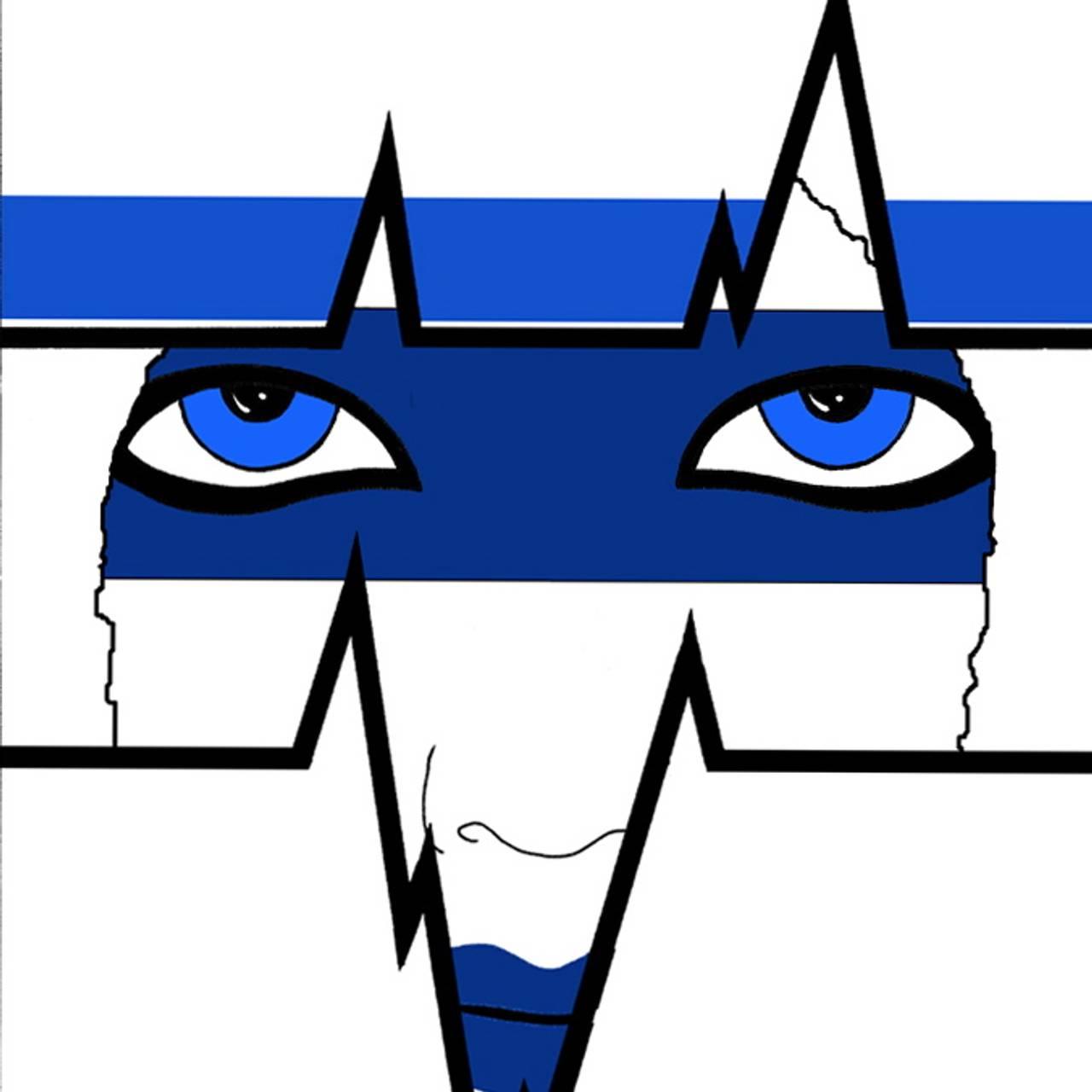 maleri i hvitt og blått hvor vi møter et par blå øyne som ser gjennom et blått bind for øynene, med hjerteslag-linjer som former åpningen foran ansiktet. Det virker dyreaktig. Sjamanistisk motiv