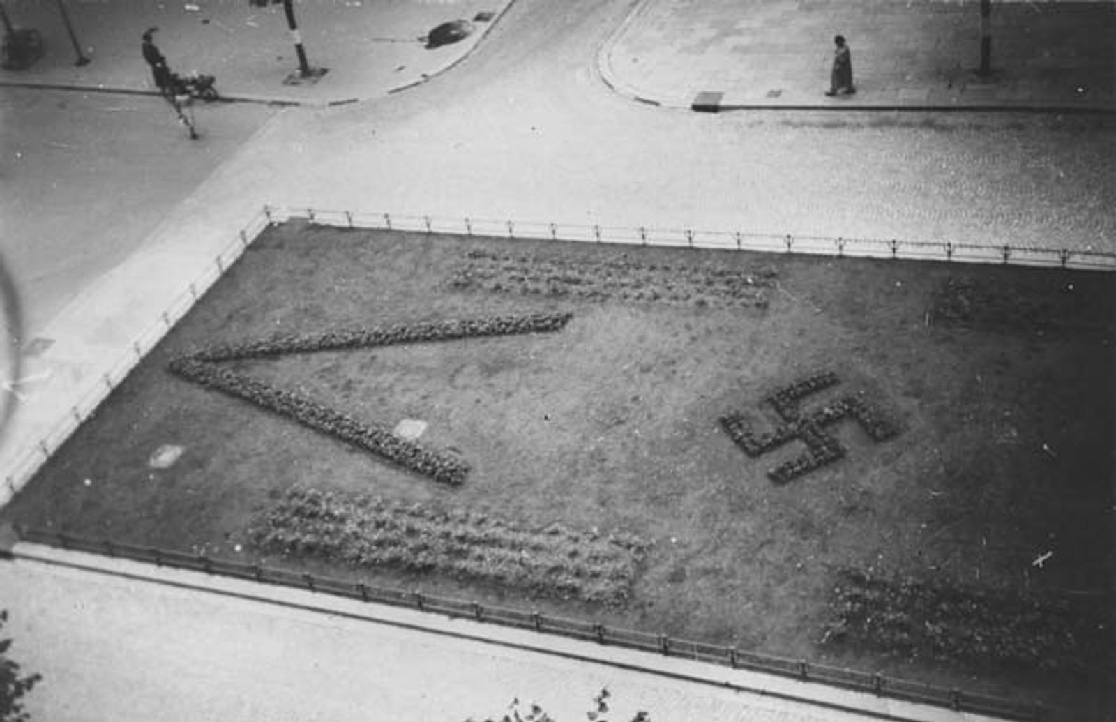 TYSK PARK: Slik så en av sentrumsparkene i Bergen ut mens tyske gartnere hadde noe de skulle ha sagt. Beplantningen ble raskt fjernet i mai 1945.