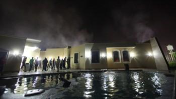Skader på det amerikanske konsulatet i Benghazi etter angrep