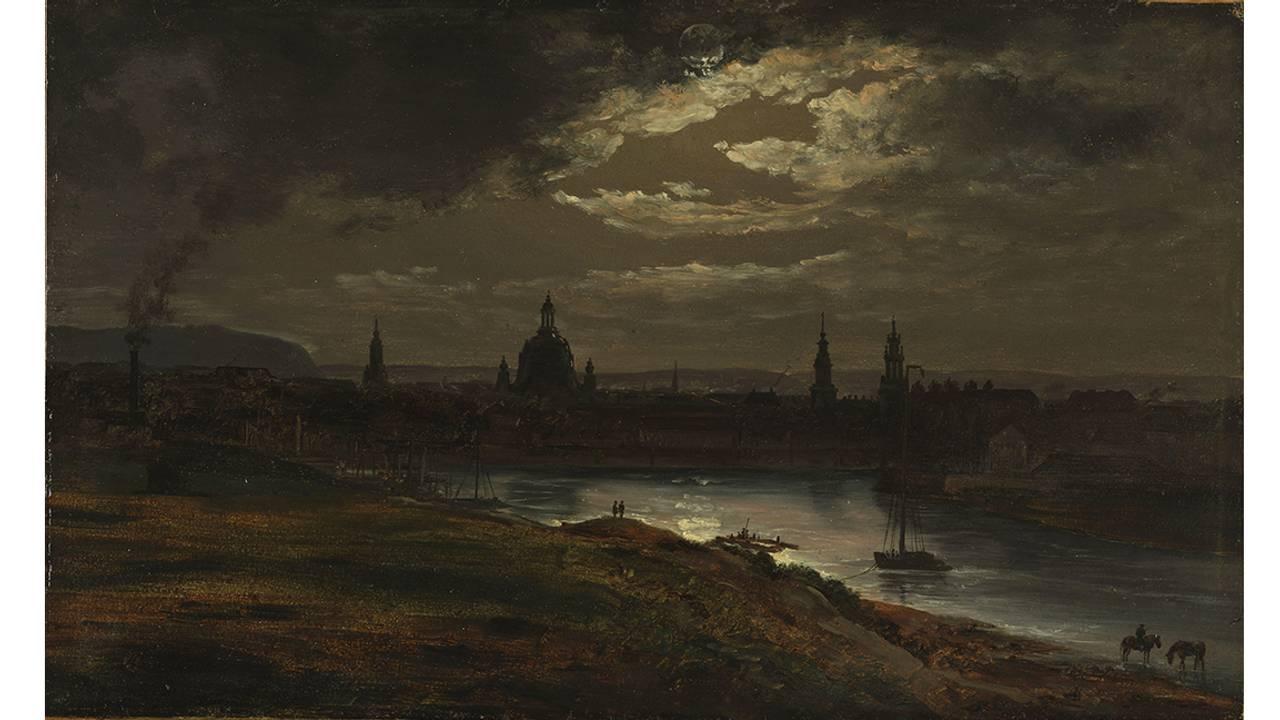 J. C. Dahl «Dresden i måneskinn» fra 1845.