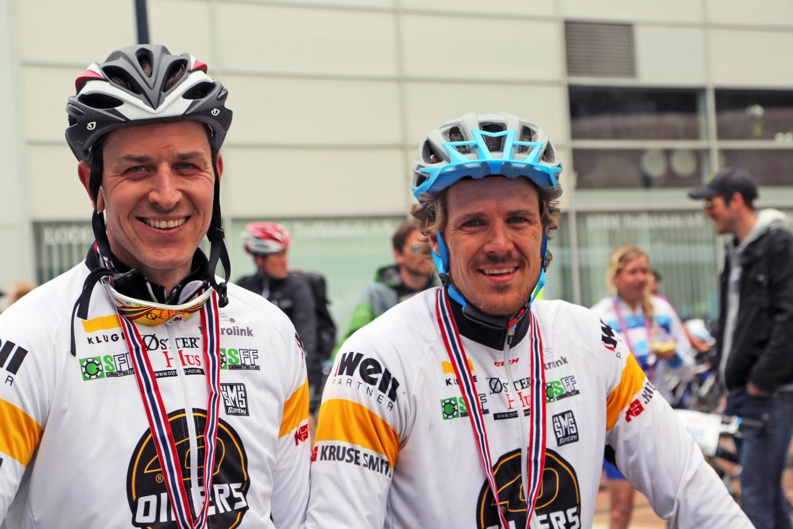 Oilersspillerne Christian Dahl Andersen og Kristian Forsberg.