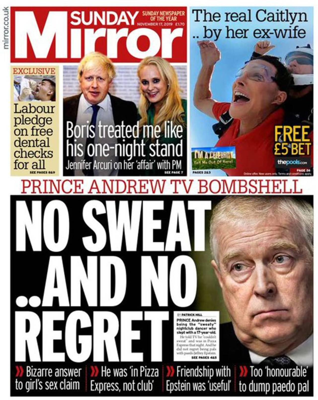 Forsiden av Sunday Mirror.
