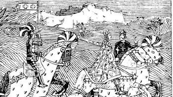 """Kong Sigurd og Kong Baldvine rir frå Jorsalaborg til elva Jordan."""