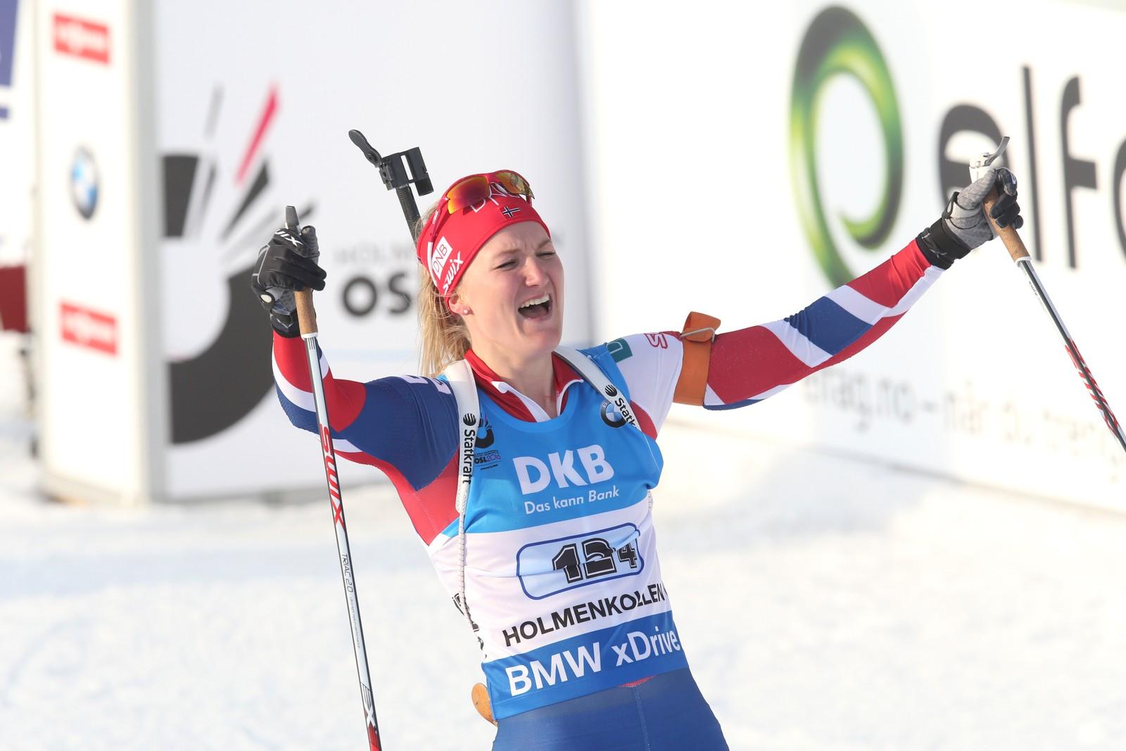 Skiskytter-VM i Oslo 2016. Marte Olsbu under stafett kvinner i VM i skiskyting i Holmenkollen fredag.