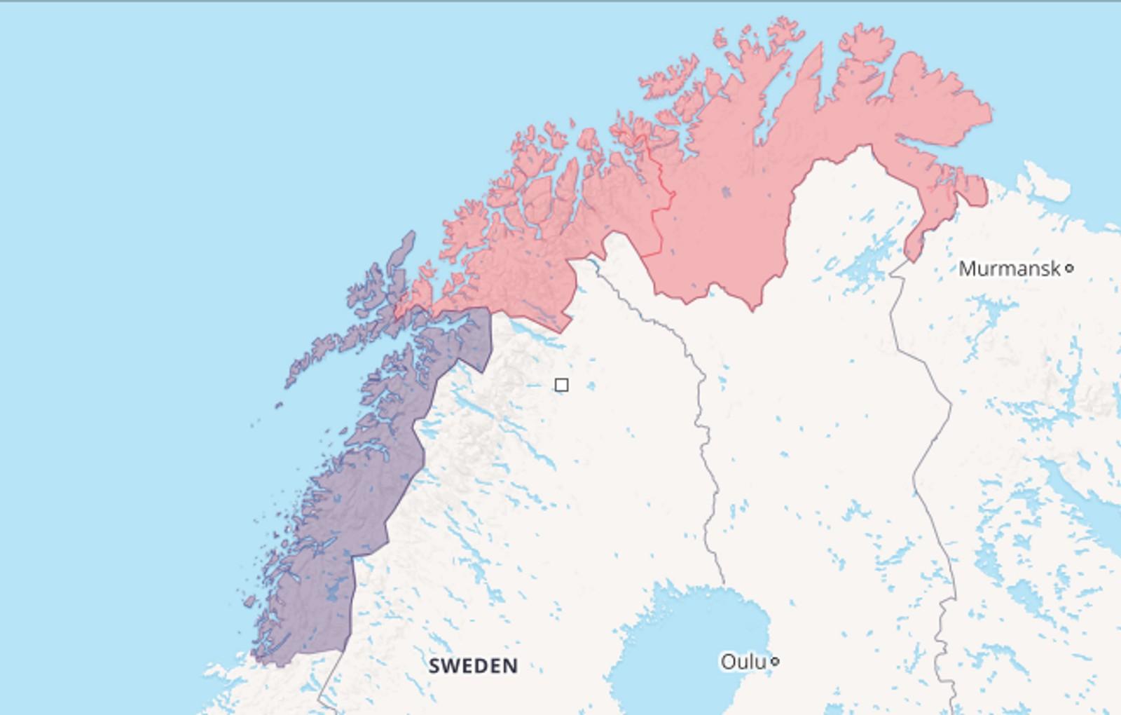 Alternativ 2: Dele Nord-Norge langs fylkesgrensen mellom Nordland og Troms.