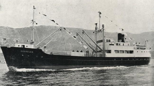 """MS """"Hornelen"""" var første spesialskipet i landet for palletransport. Eigar av foto: Fjord1 Fylkesbaatane."""