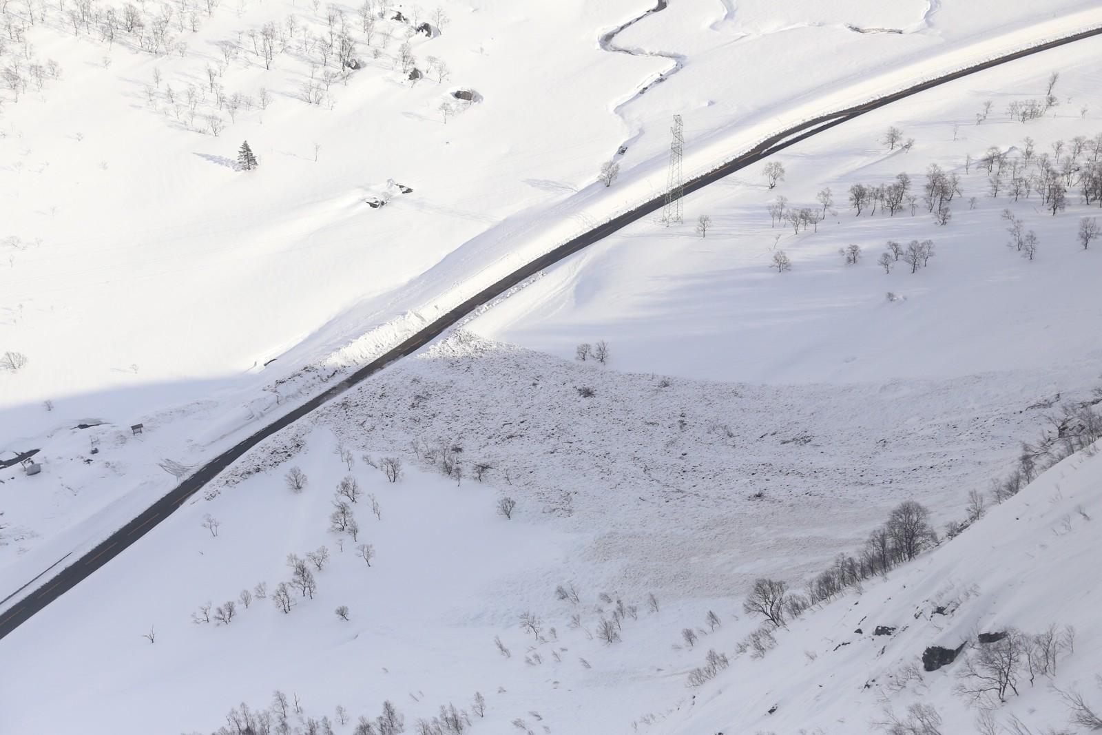 Snøvær i natt har dekka til delar av skredet i Romarheimsdalen.