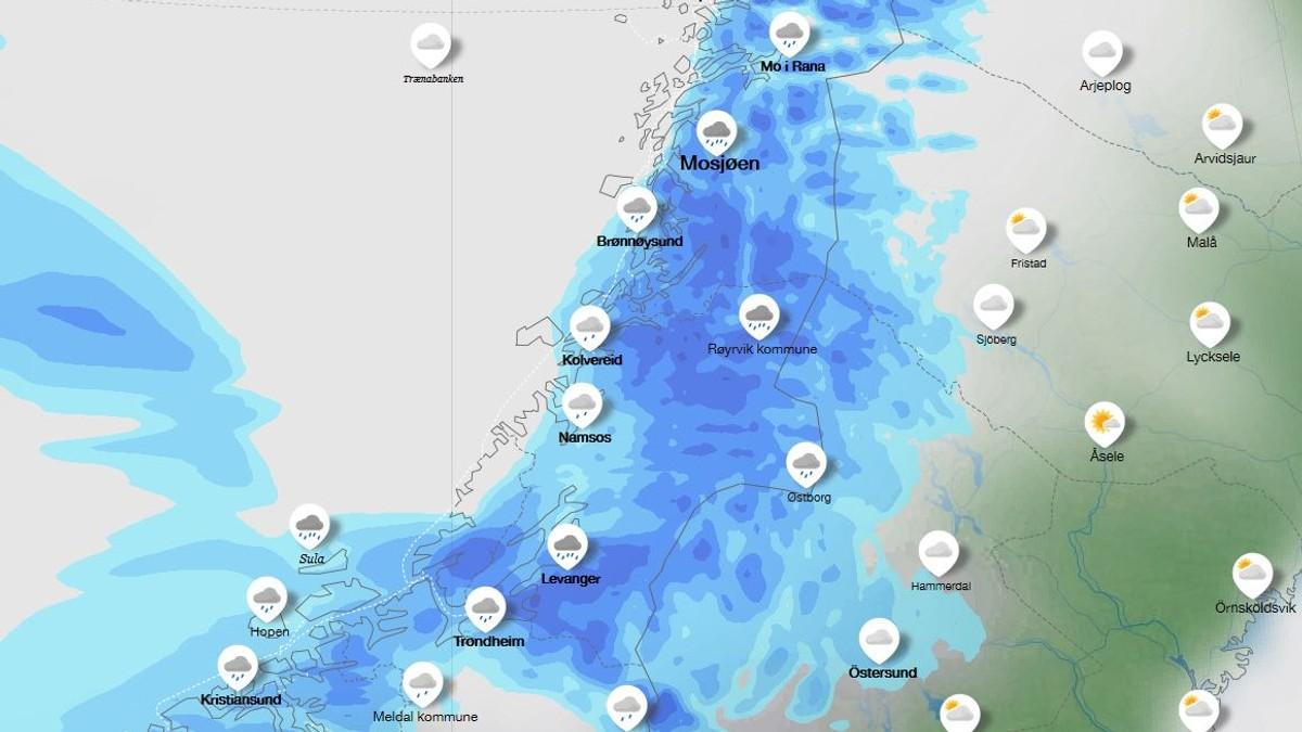 Mykje regn i vente på Helgeland måndag.