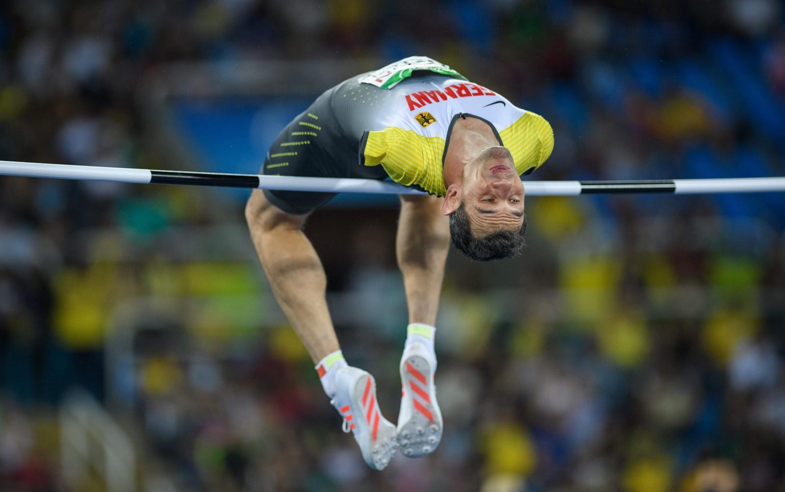 Tyske Reinhold Boetze i aksjon i høyde under Paralympics i Rio de Janeiro 16. september.