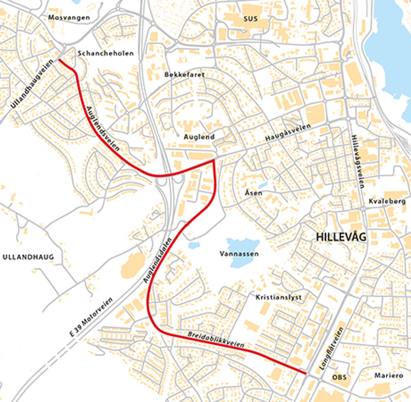 Auglendsveien til Motorveien (Fv393), natt til torsdag 7. mai. Breidablikkveien, Auglendsdalen, Haugåsveien, Auglendsveien (Fv393) natt til fredag 8. mai.