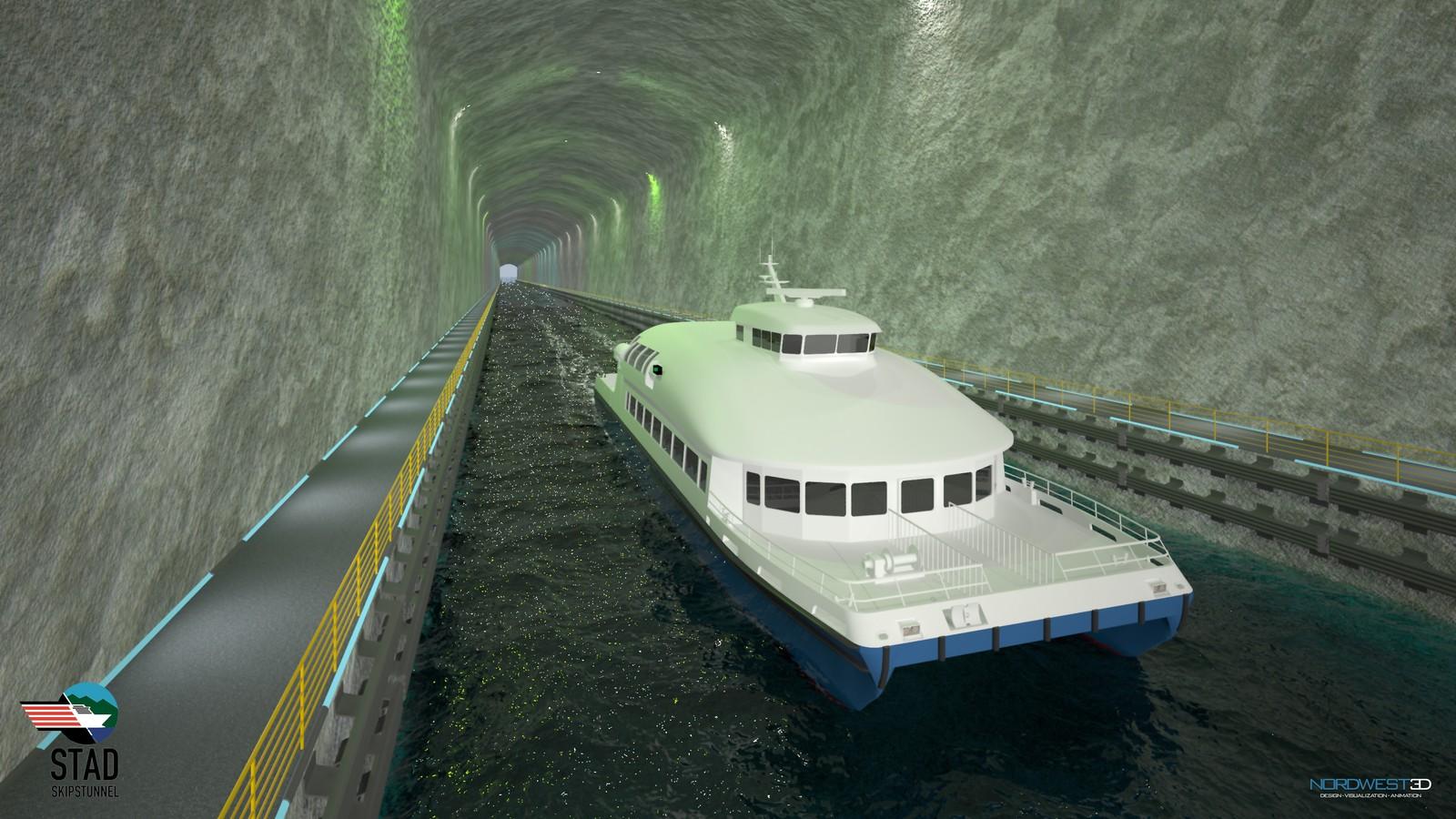Hurtigbåt i Stad skipstunnell (illustrasjon).