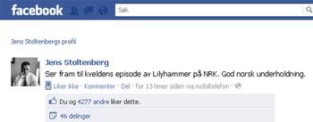 Jens Stoltenberg liker Lilyhammer på Facebook.