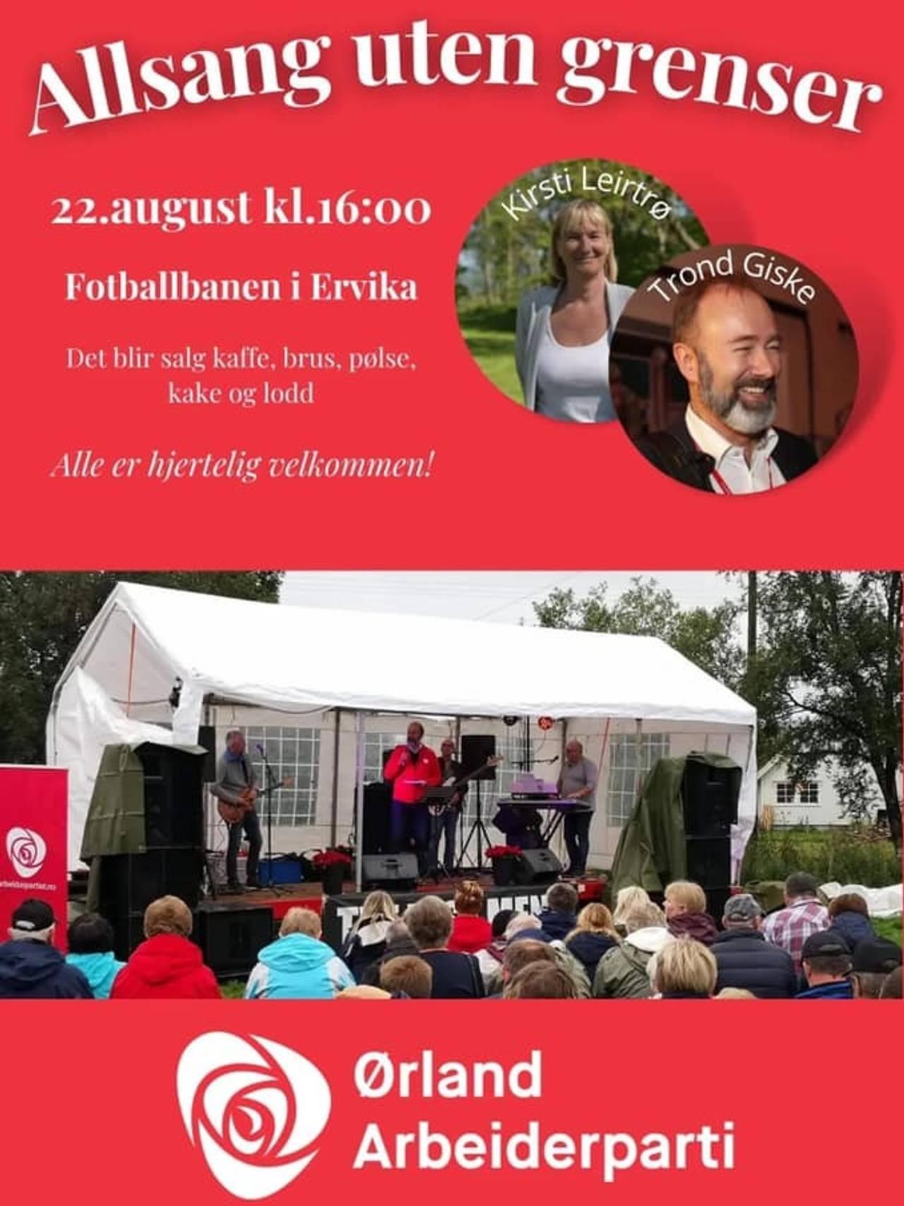 Plakaten til Ørland Arbeiderpartis Allsang uten grenser med Trond Giske