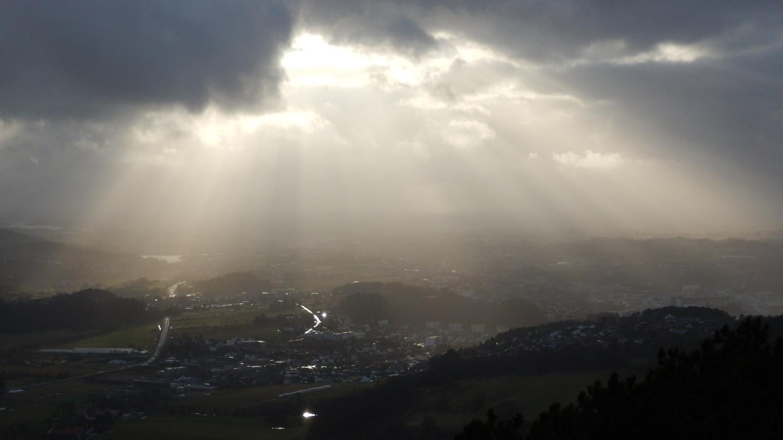 Utsikt mot sør fra Vassfjellet i Sandnes.