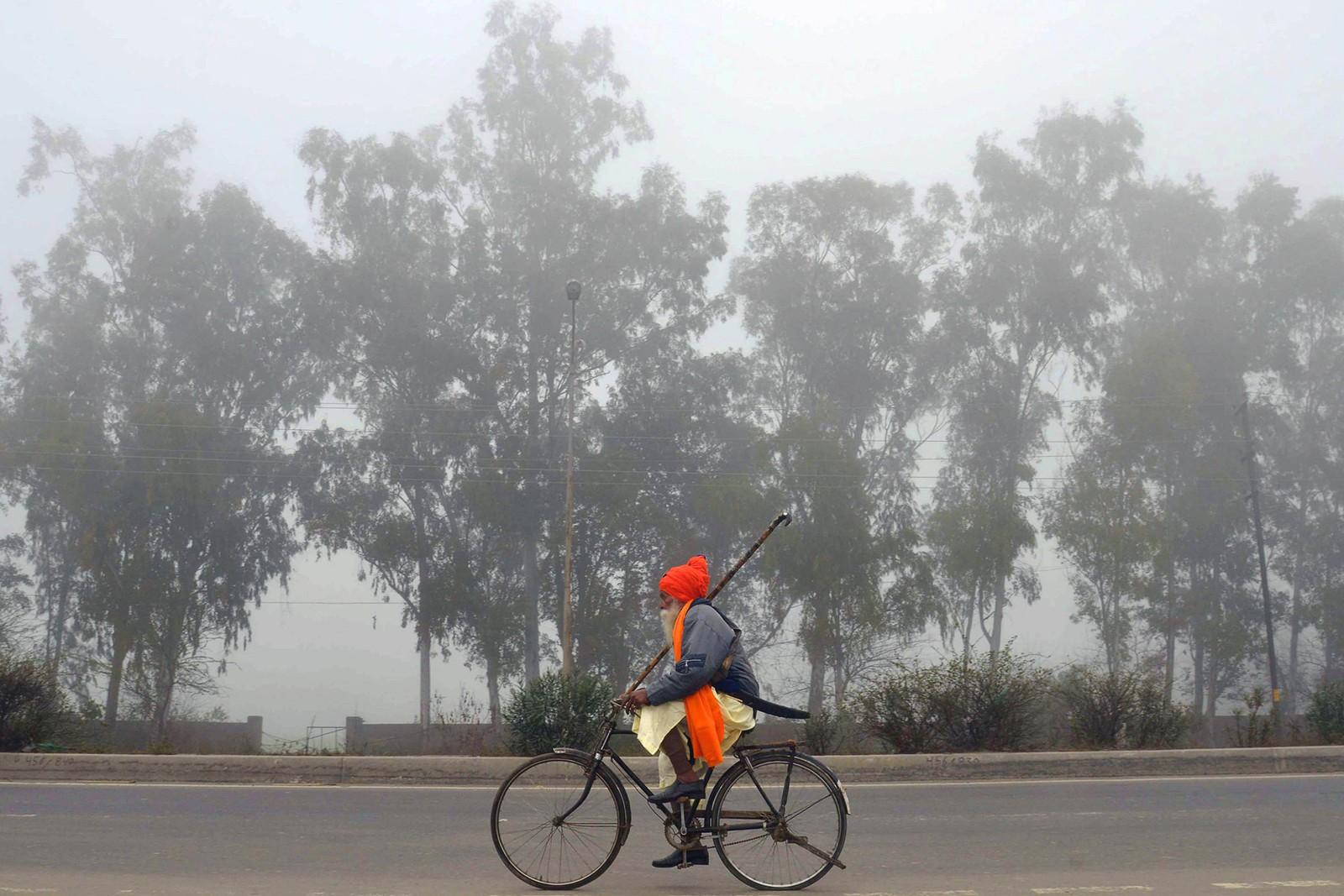 En indisk sikh nihang, som er en tradisjonell kriger, sykler utenfor Amritsar.