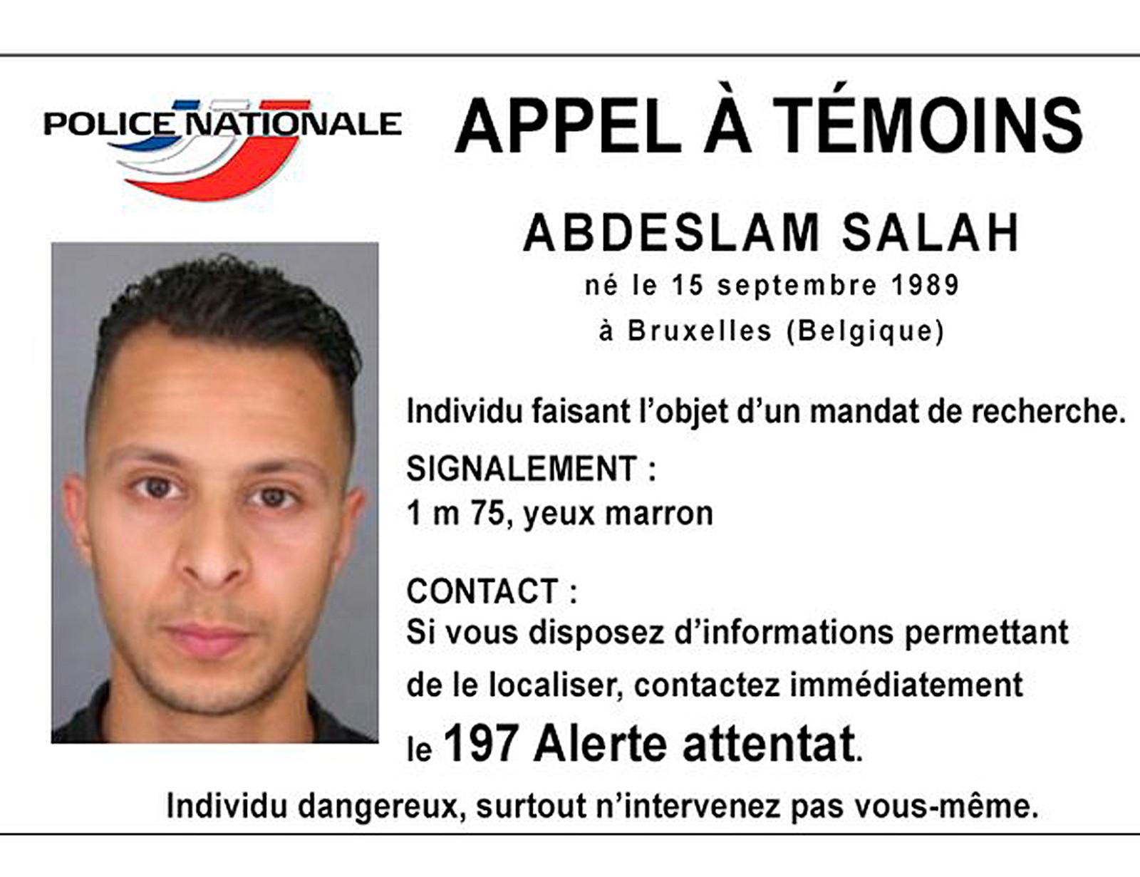 Fransk politi ga ut dette bildet av Salah Abdeslam etter Paris-terroren.