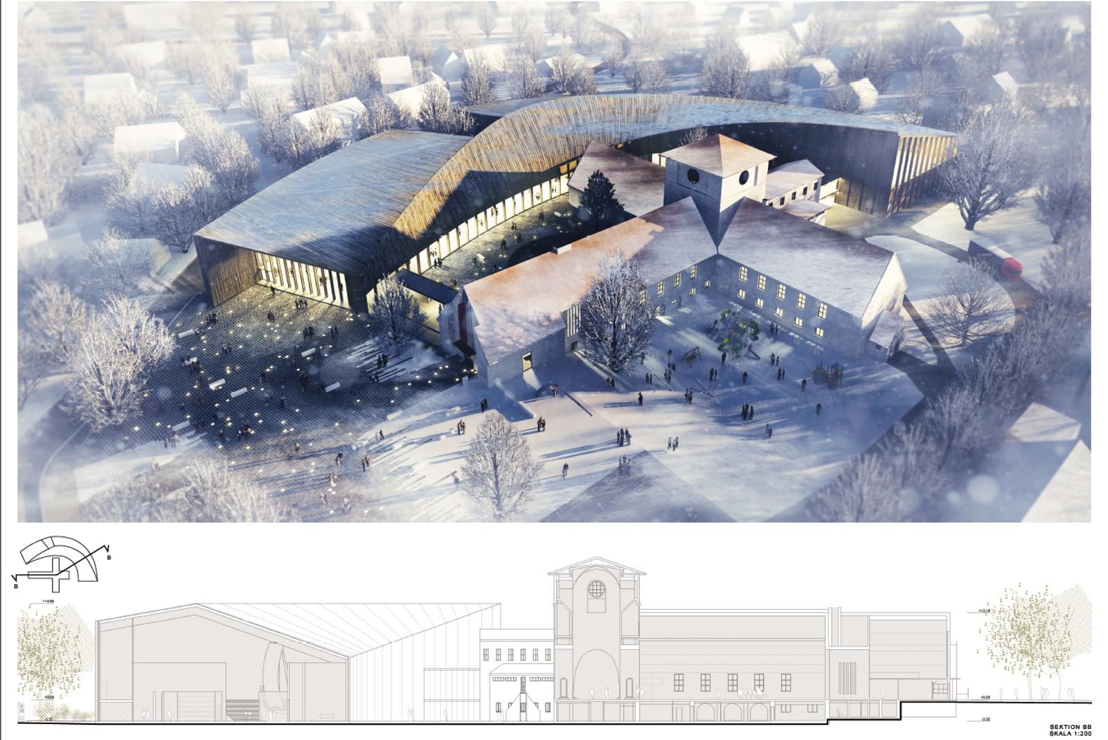 Dette forslaget ønsker å bygge det nye vikingtidsmuseet ved siden av vikingskipmuseet som står der i dag.NRK har ikke fått vite hvem som har sendt inn bidragene.