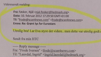 Utdrag fra e-post i pengegarantisaken i Hedmark fylkeskommune