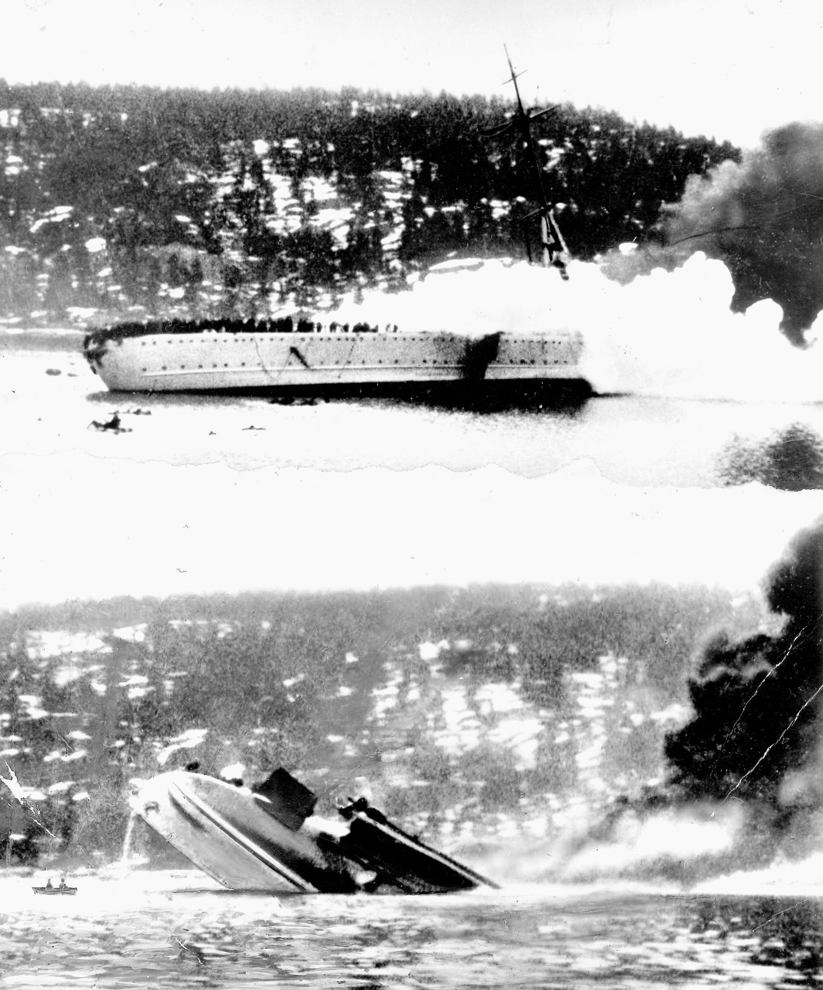 """Den tyske krysseren """"Blücher"""" i Drøbaksundet. Krigsskipet blir beskutt og senkes av kanonene på Oscarsborg."""