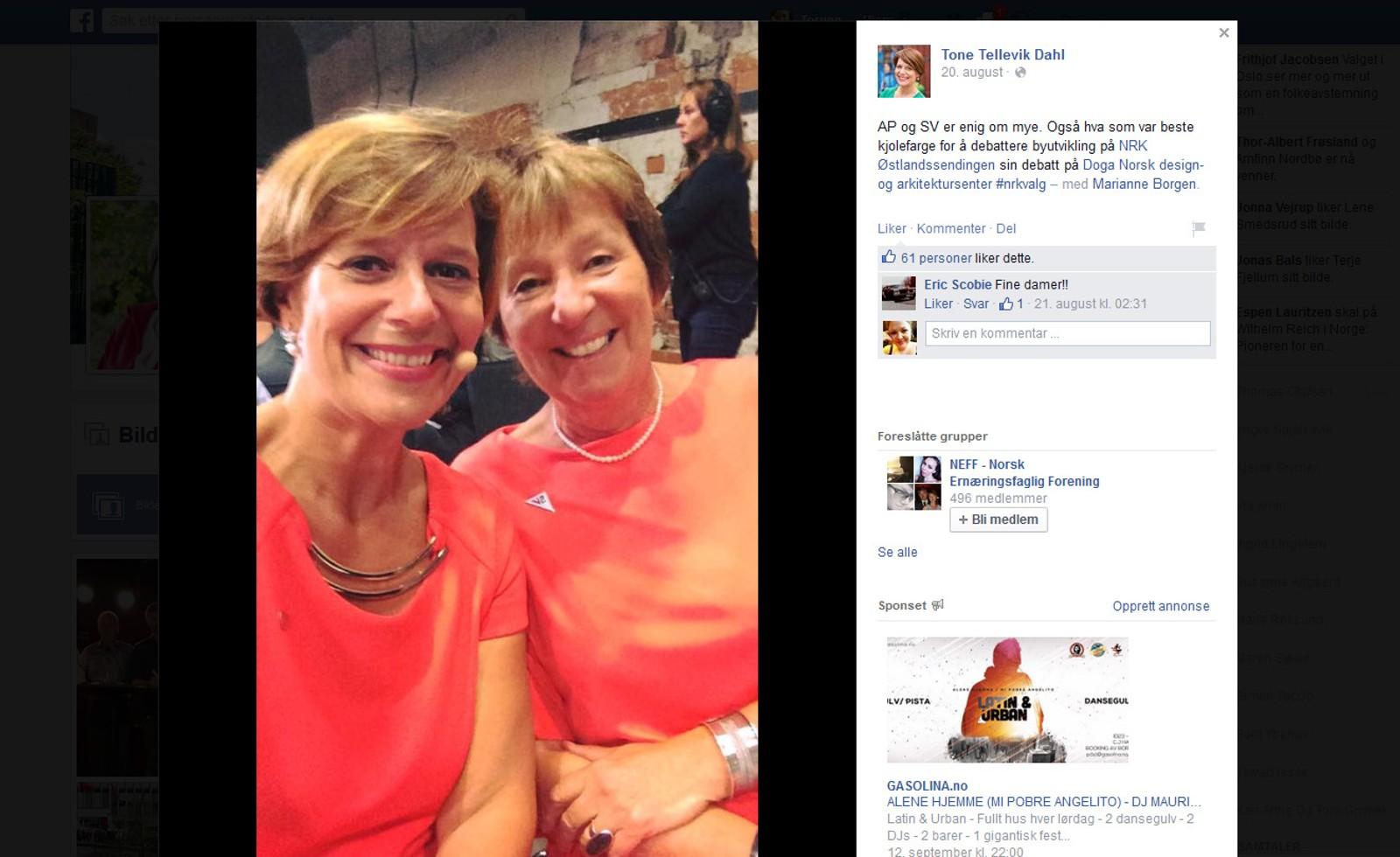 SVs ordførerkandidat i Oslo, Marianne Borgen, bruker Facebook til å dele bilder med både humor og nærhet for å spre sitt politiske budskap og ståsted. Her har APs Tone Tellevik Dahl delt et bilde med dem to i nesten like kjoler før en TV-debatt.