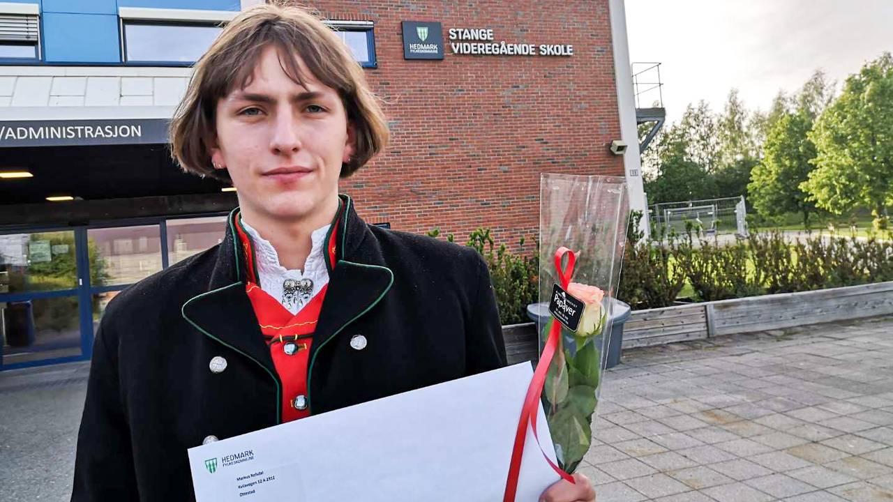 Markus fikk 6,4 i snitt fra Stange videregående skole.