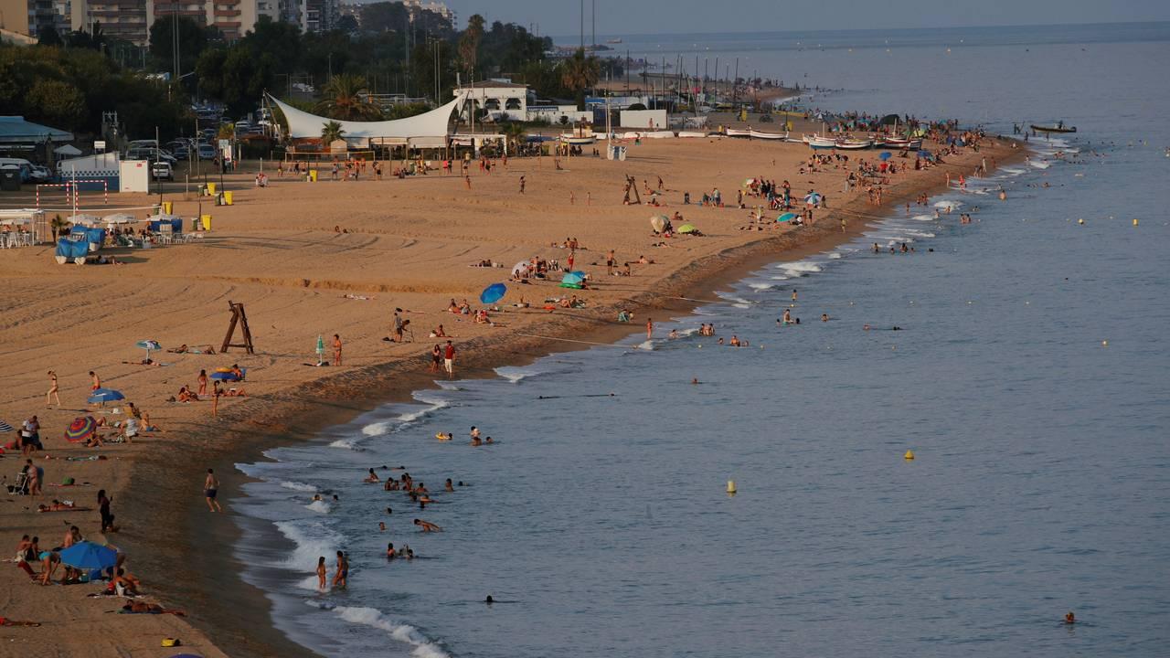 Calella beach near Barcelona. Etter. 24. juli