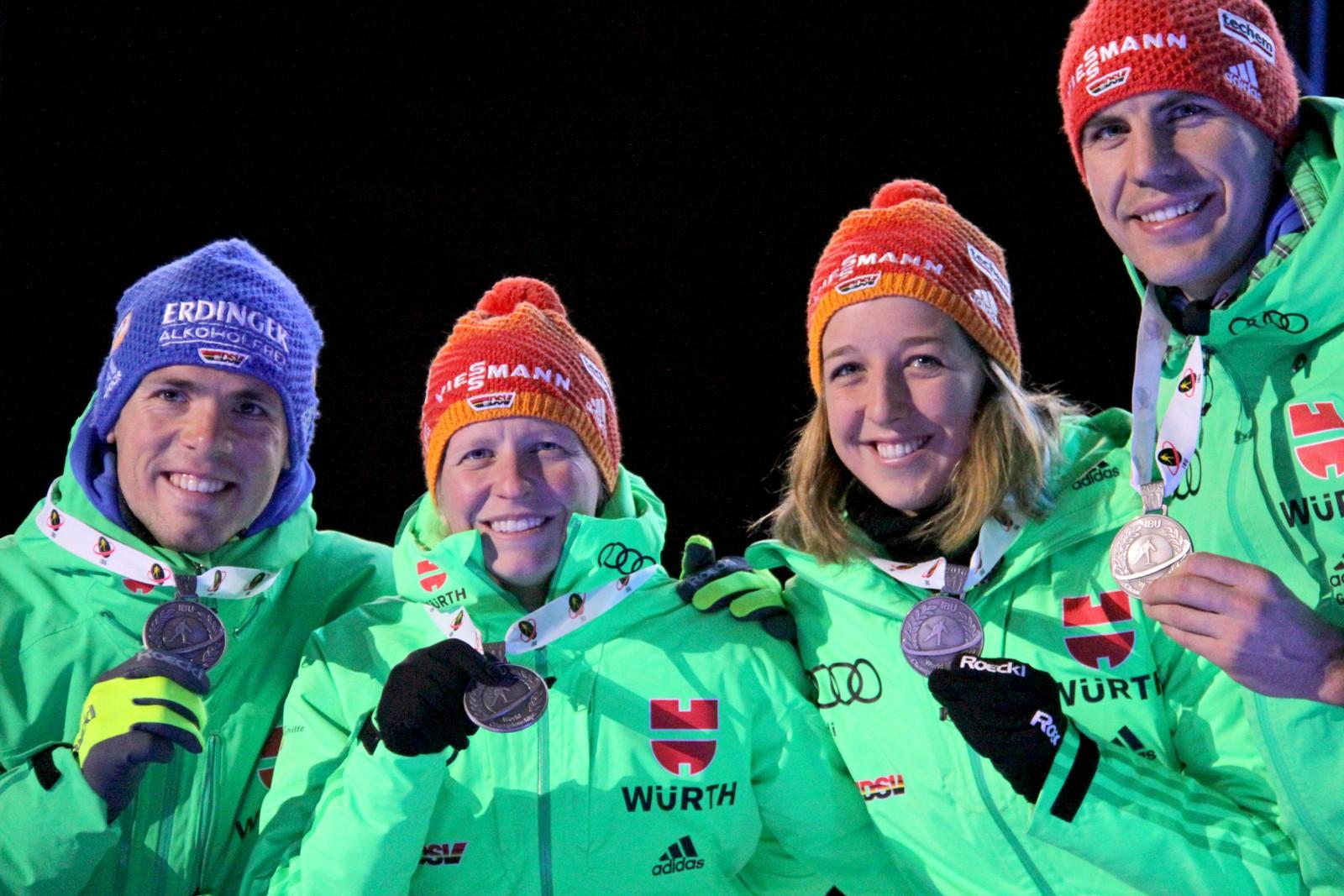 German silver medal winners, from left: Simon Schempp, Franziska Hildebrand, Franziska Preuss and Arnd Peiffer.
