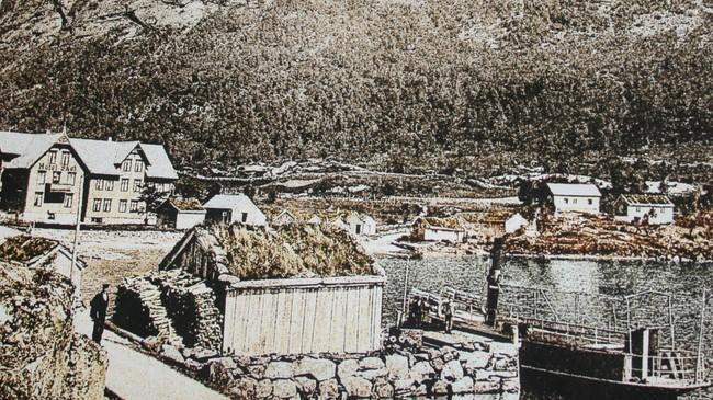 På Skei var det skysstasjon. Dette biletet er frå rundt 1890, og vi ser Skei Hotell og dampbåten Skjold.